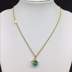 Authentic Juicy Couture Gold & Blue Heart Necklace